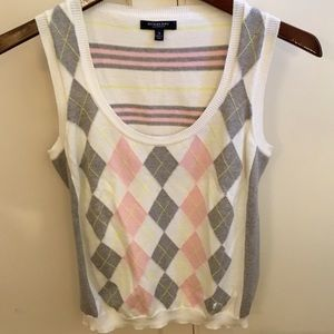 Burberry Pink & Gray Argyle and Stripe Knit Top